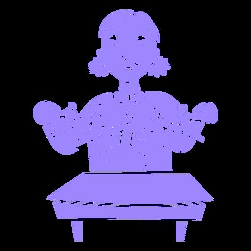 Child girl making crafts