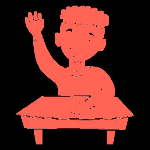 Boy student raising hand