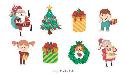 46 material de fondo de ilustración de vector de Navidad encantadora