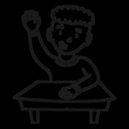 School boy sitting stroke
