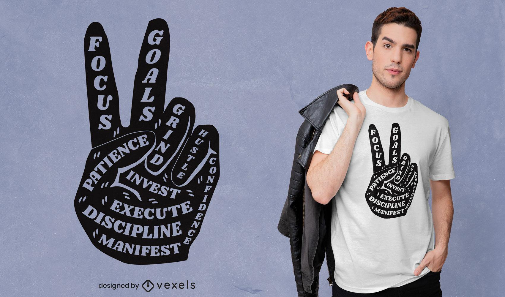 Dise?o de camiseta con cita inspiradora del signo de la paz