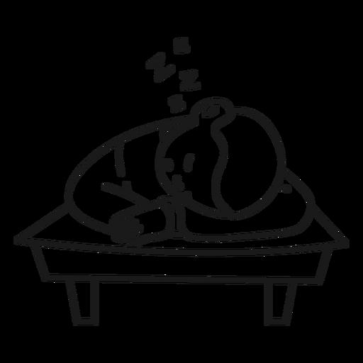 Child boy sleeping on desk stroke