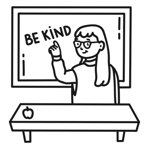Teacher on blackboard stroke
