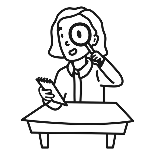 Child girl with magnifying glass