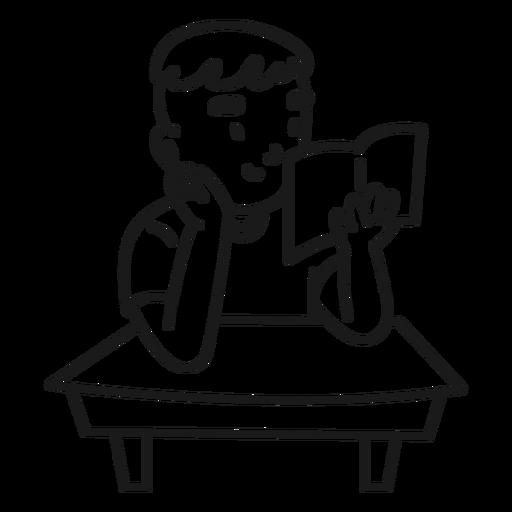 Child boy reading book