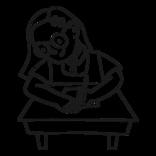 Child girl writing on desk