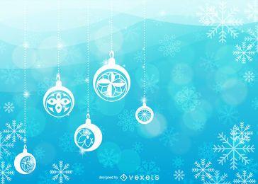 Fondo abstracto de Navidad con siluetas de adorno