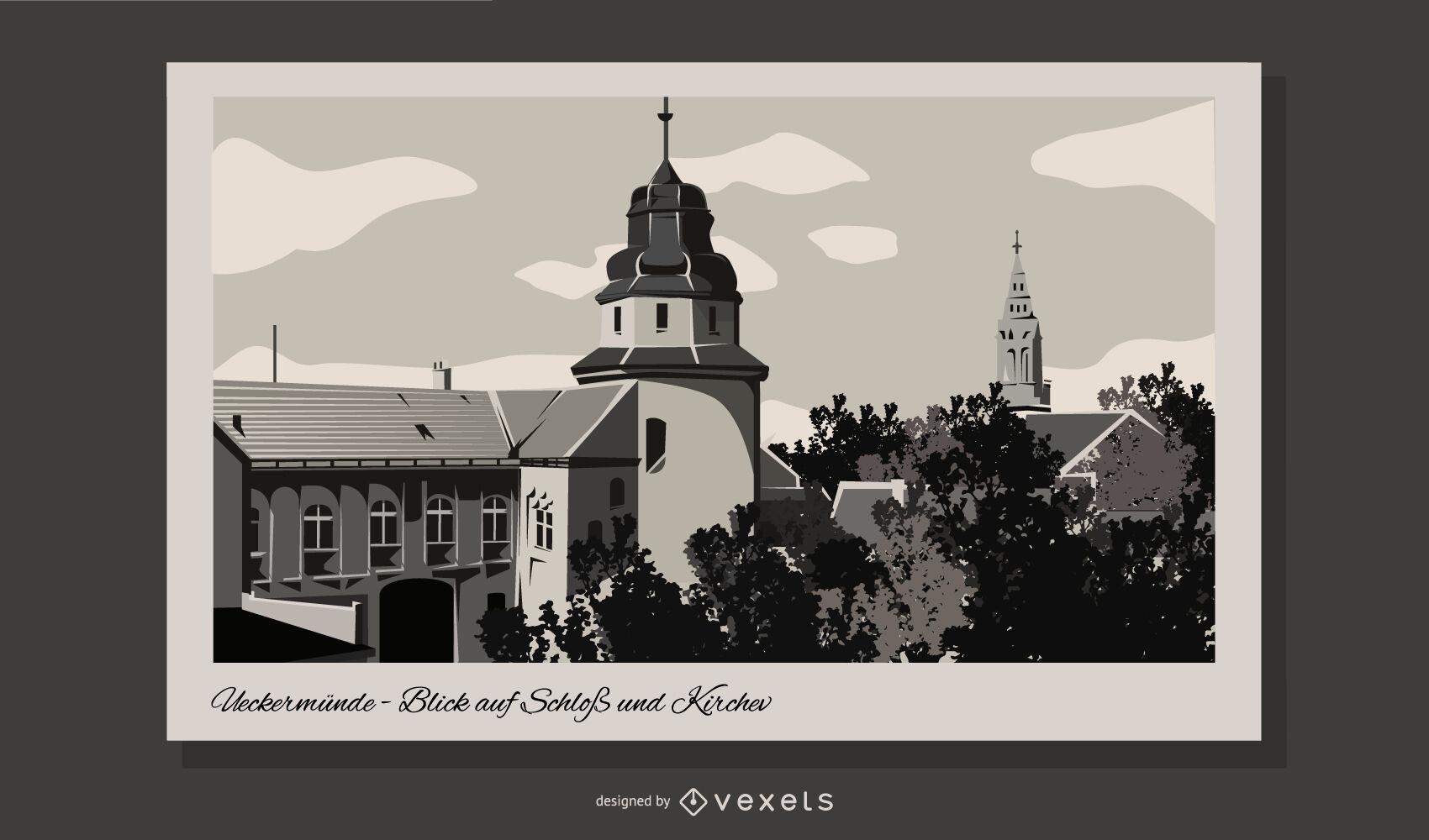 Ilustración de edificios de postal de Alemania