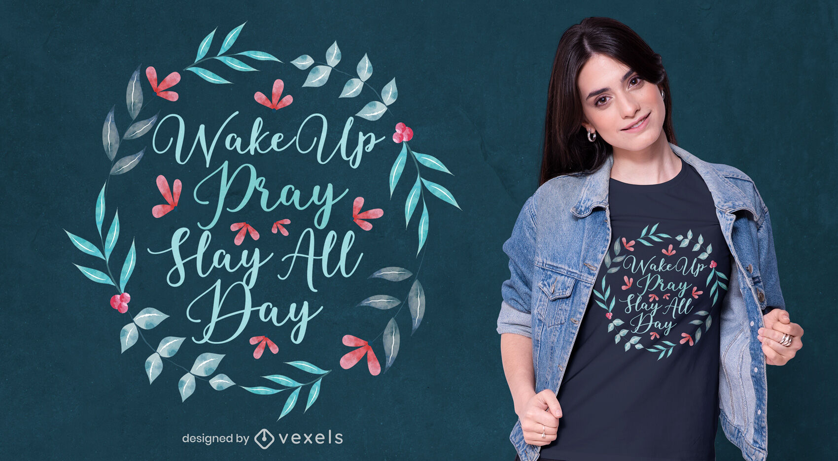 Aquarell Blumenzitat T-Shirt Design