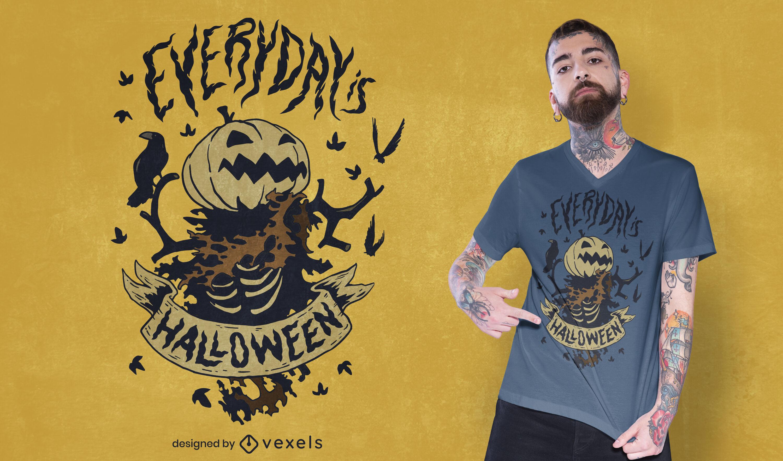 Design de camiseta do monstro do Dia das Bruxas Jack o Lantern