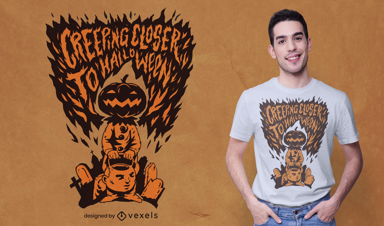 Diseño de camiseta de monstruo de calabaza de Halloween
