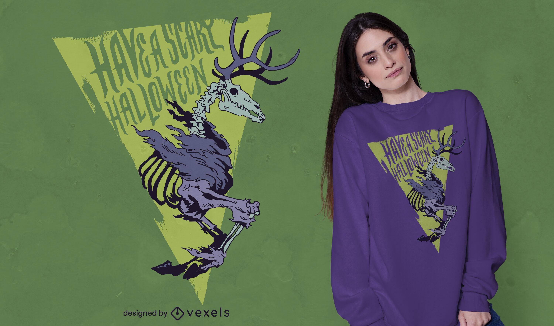 Desenho de t-shirt do Dia das Bruxas com esqueleto animal