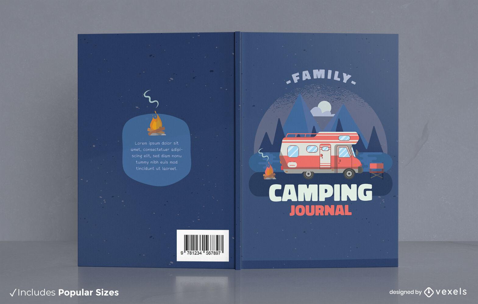 Design da capa do livro do jornal de acampamento