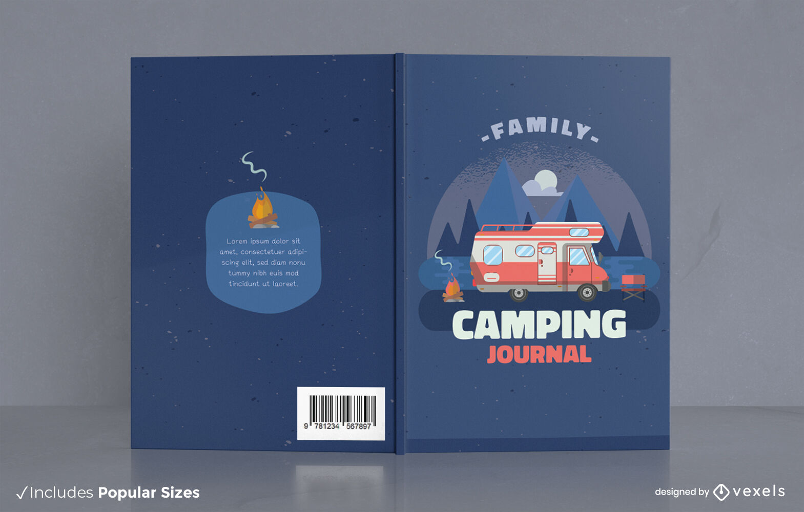 Diseño de portada de libro de diario de camping