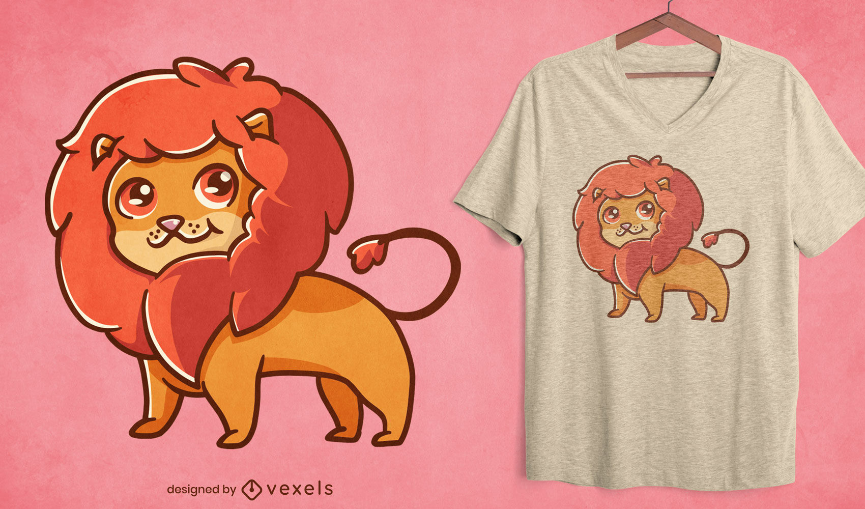Diseño de camiseta de león lindo