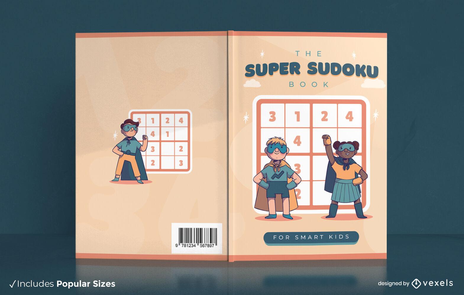 Diseño de portada de libro super sudoku