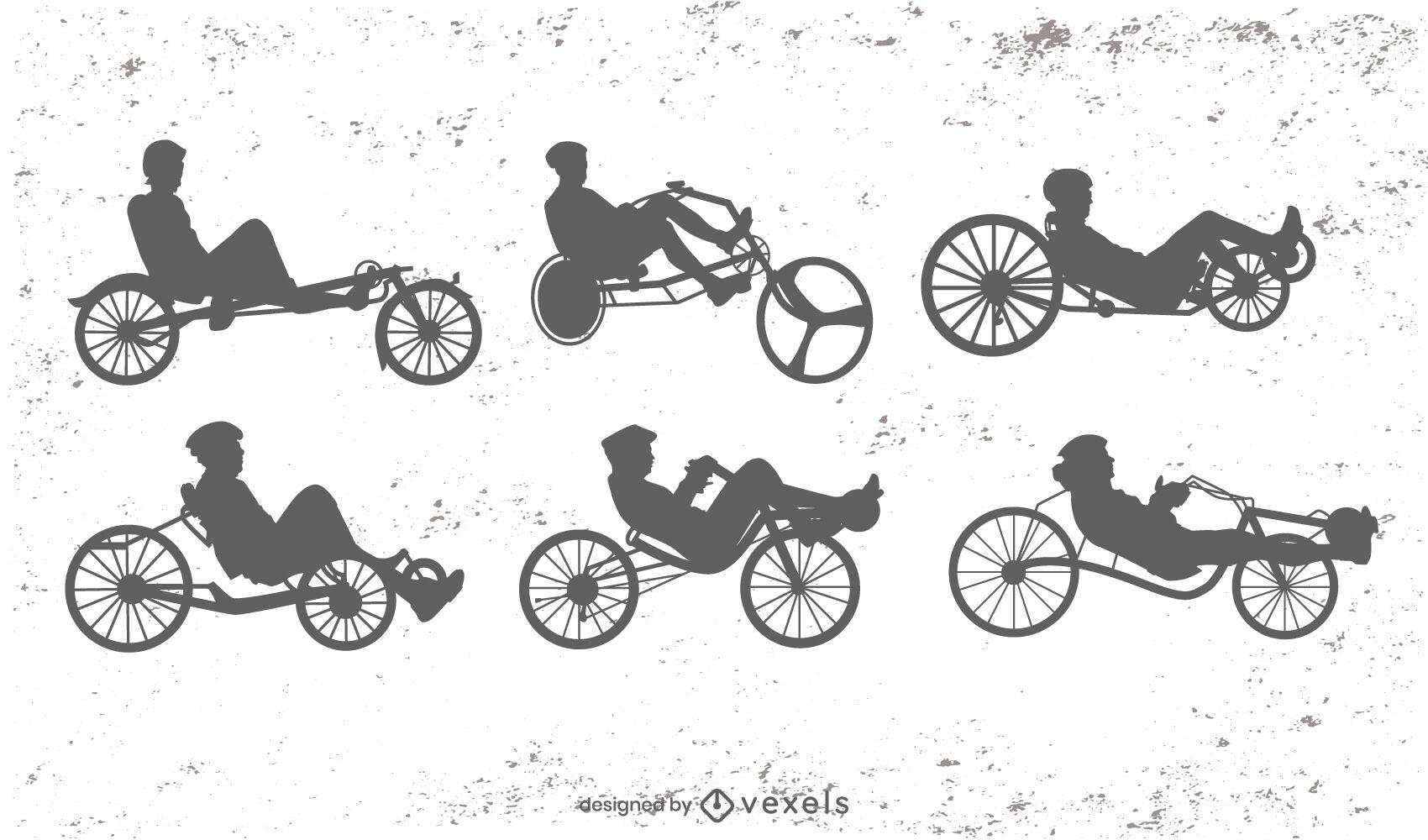 Conjunto de silhueta de transporte de bicicletas reclinadas