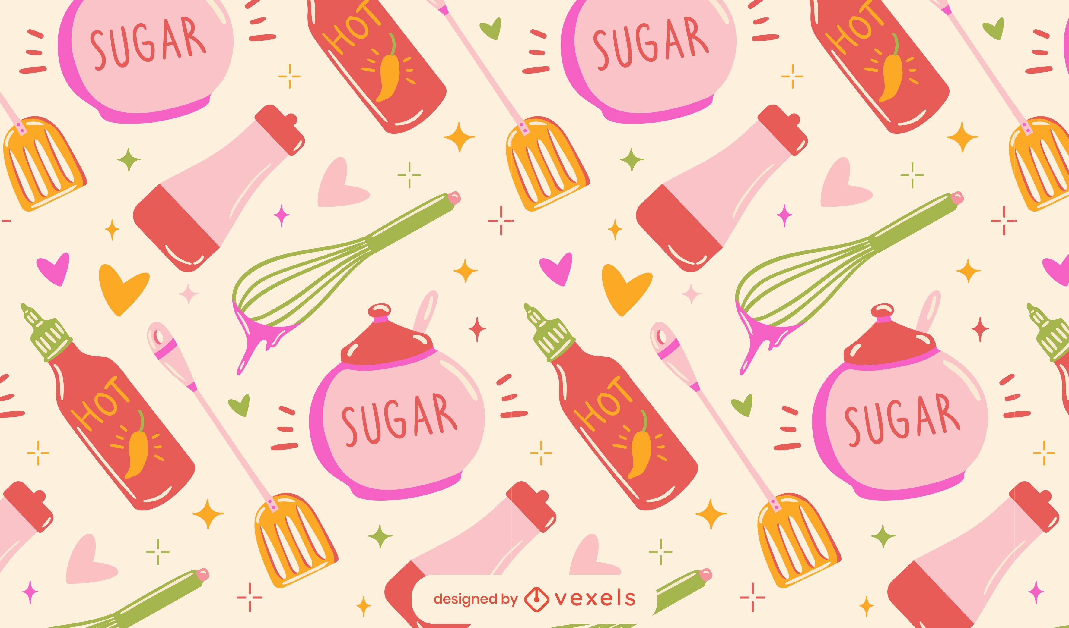 Niedliches Musterdesign der Küchennahrungsmittelelemente