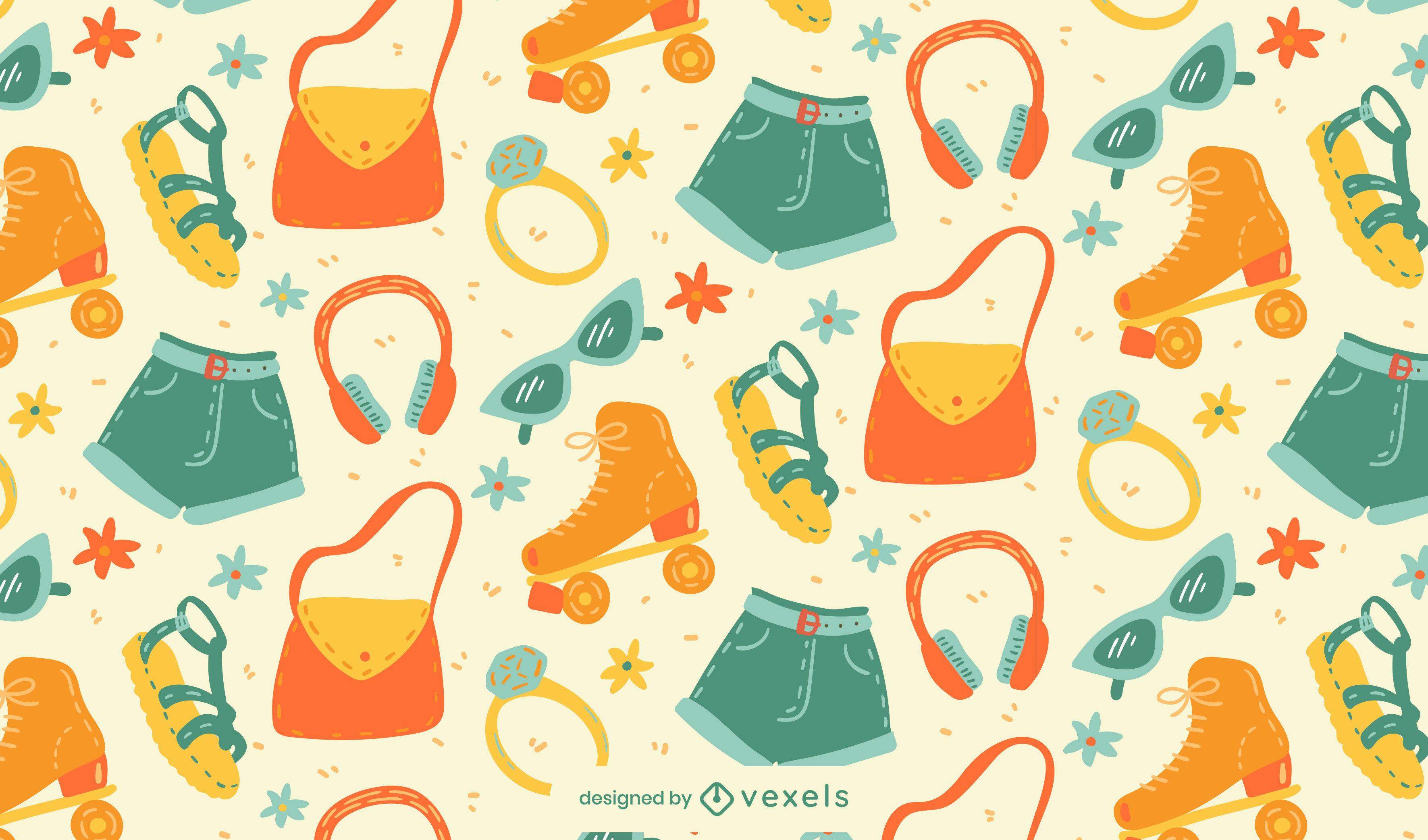 Diseño de patrón de elementos retro de verano divertido