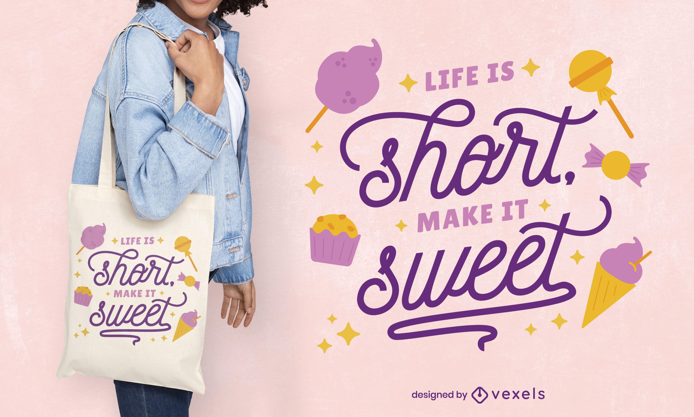 Diseño de bolso de mano con letras de dulce vida