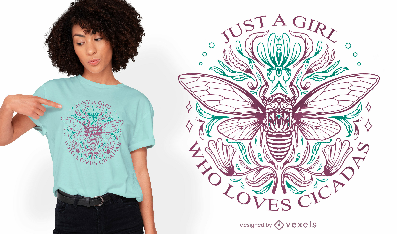 Cigarra insecto línea arte naturaleza diseño de camiseta.