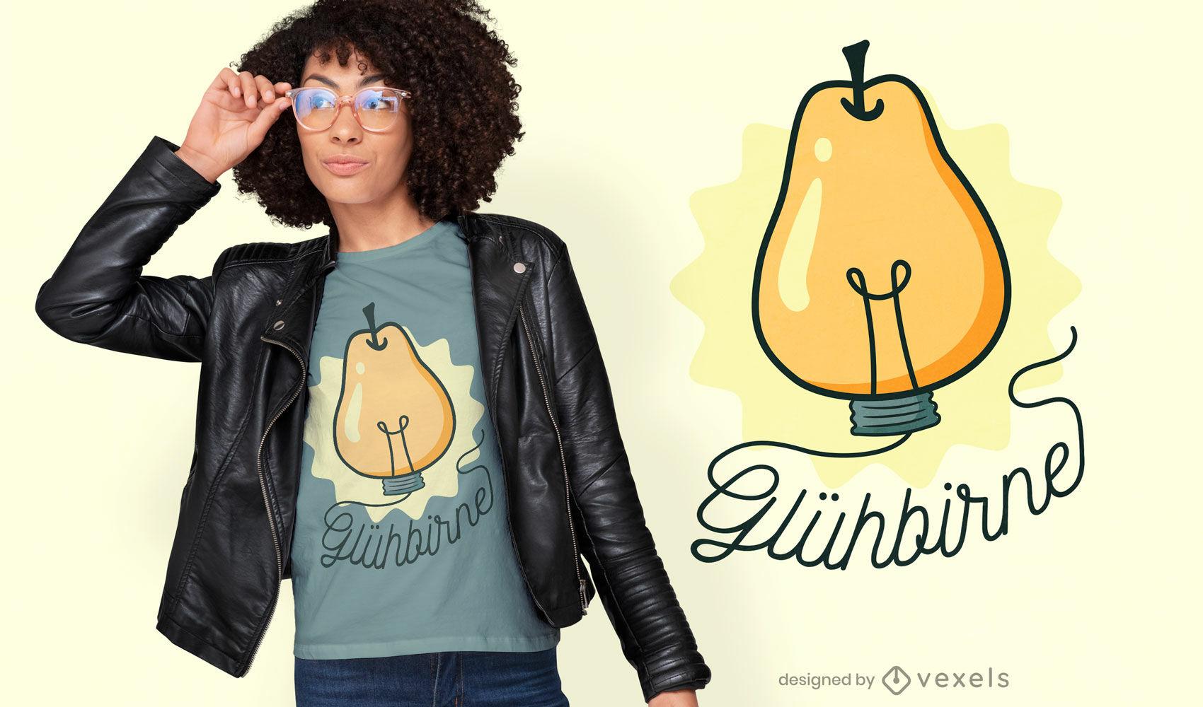 Diseño de camiseta de invención de lámpara de fruta de pera.