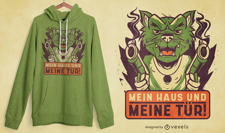 Design de camiseta alemã engraçada para cão de guarda