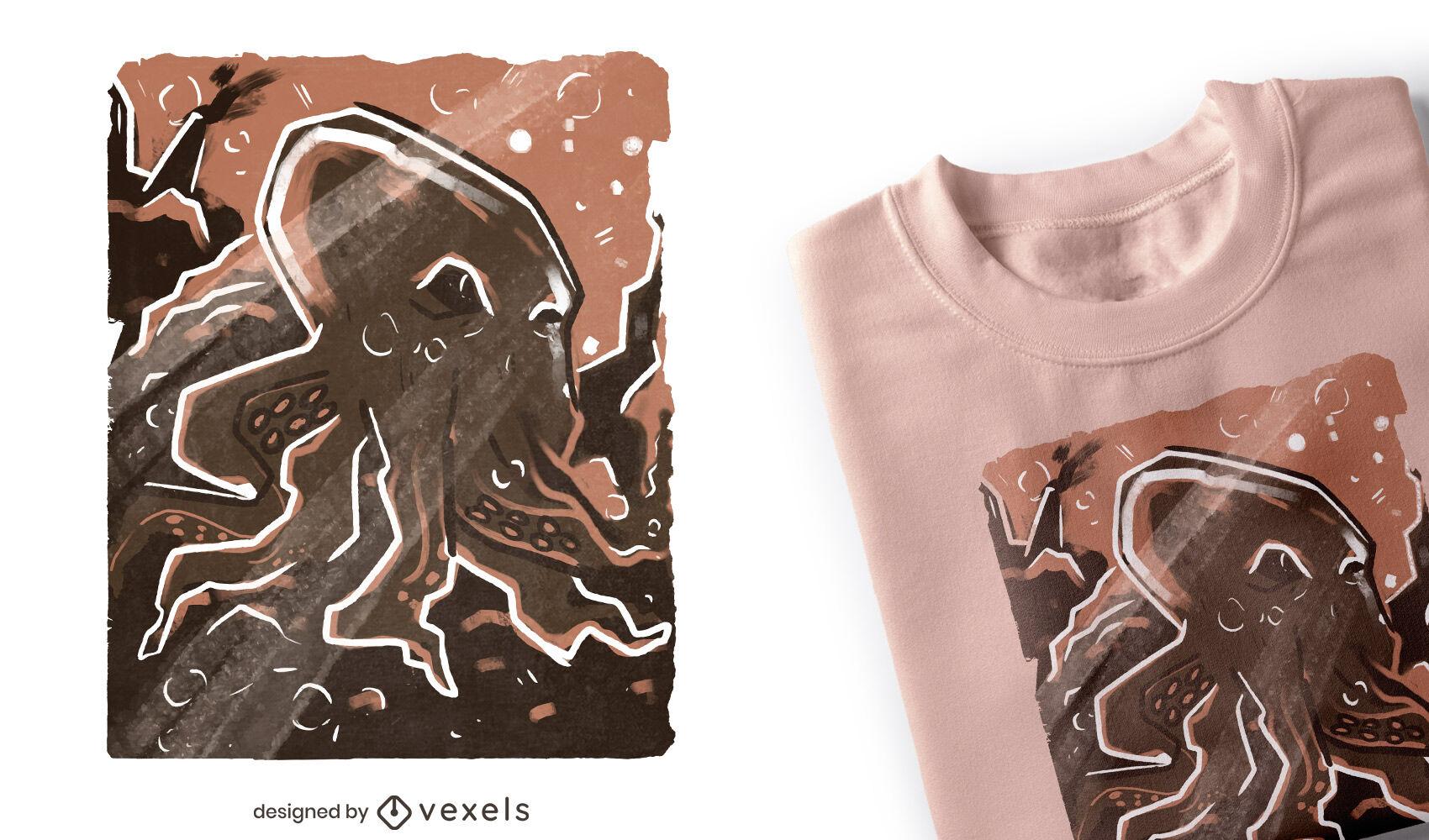 Pulpo en diseño de camiseta de arrecife de coral.