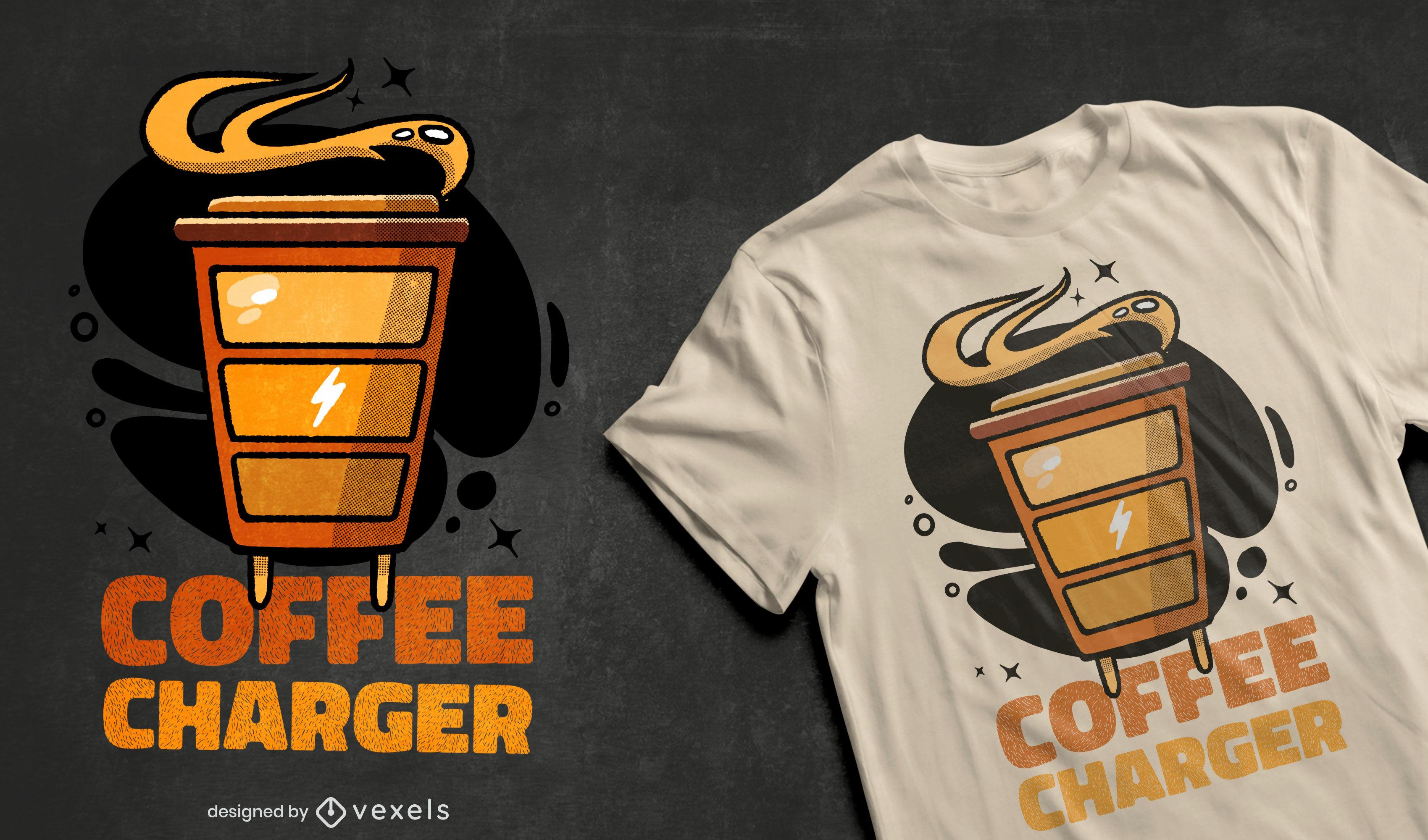 Design de camiseta com carregador de energia para xícara de café