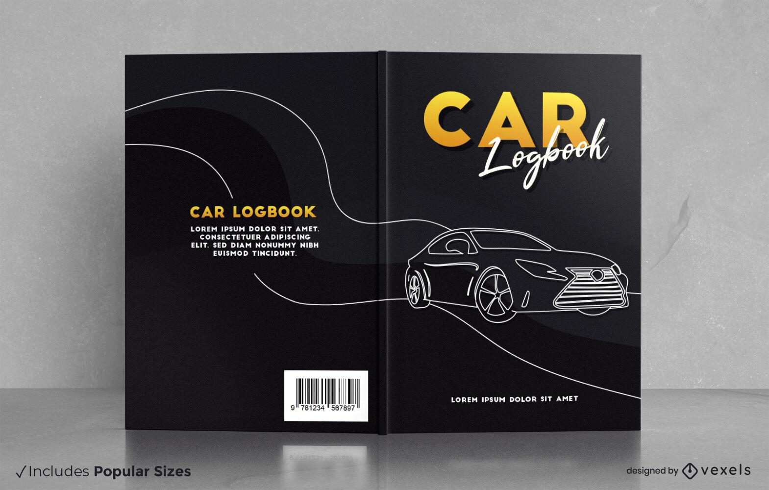 Diseño de portada de libro de registro de coche