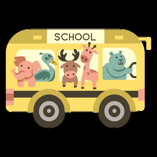 Animals school bus semi flat