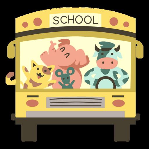 Animals school bus front semi flat