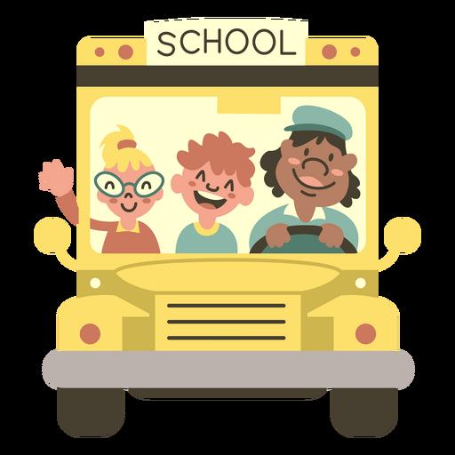 Yellow school bus front semi flat