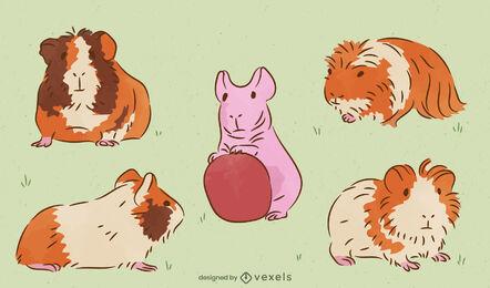 Conjunto de mascotas animales conejillos de indias