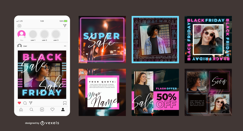 Conjunto de néon preto para venda na sexta-feira em redes sociais