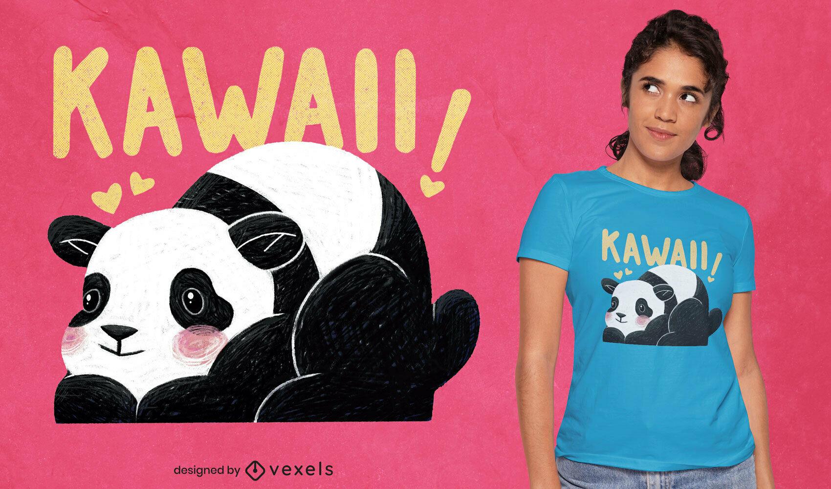 Diseño de camiseta kawaii panda psd