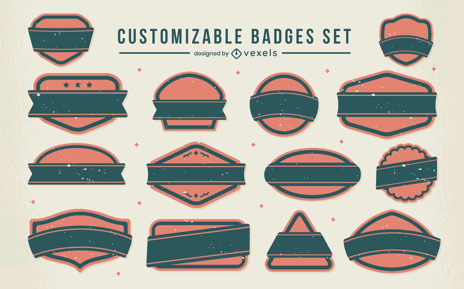Customizable blank labels and badges set