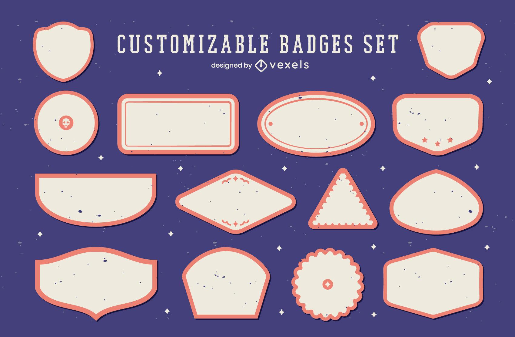 Conjunto geométrico de etiqueta em branco personalizável