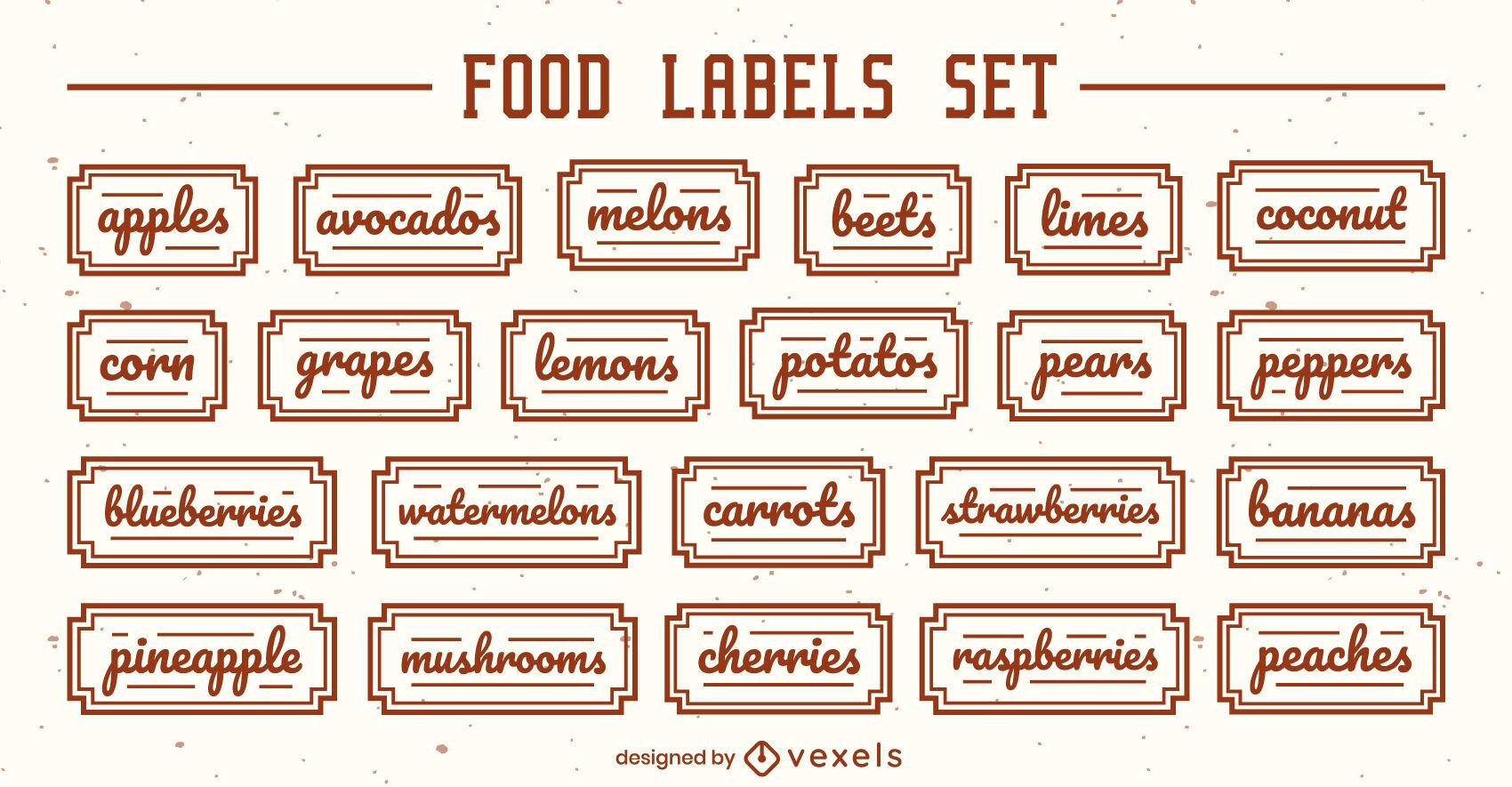 Conjunto de letras de rótulos de frutas e vegetais