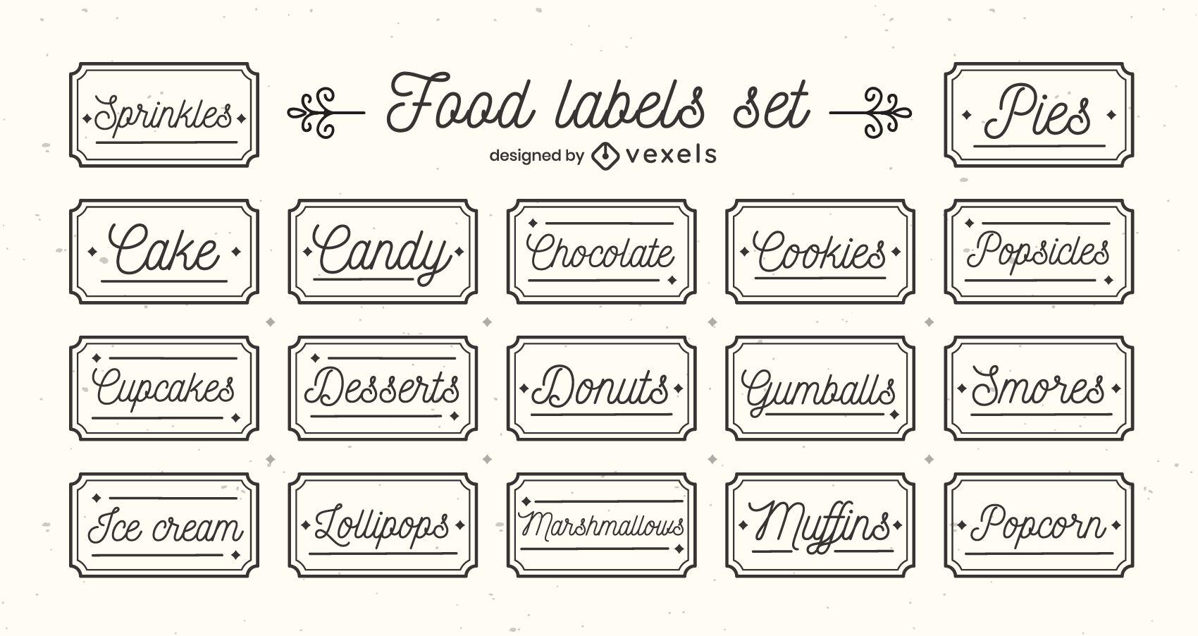 Desserts sweet food label stroke set