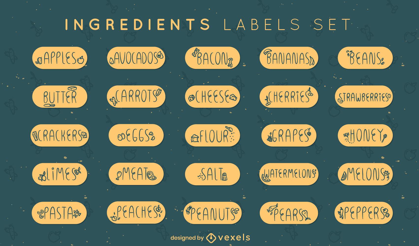 Cocinar ingredientes títulos conjunto de etiquetas de alimentos.