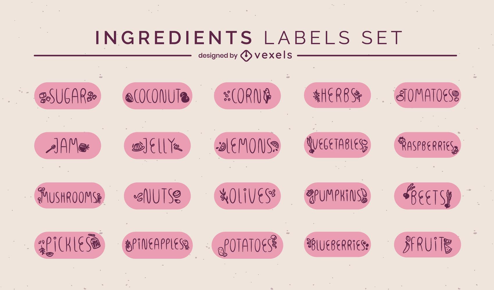Cooking ingredients food label set
