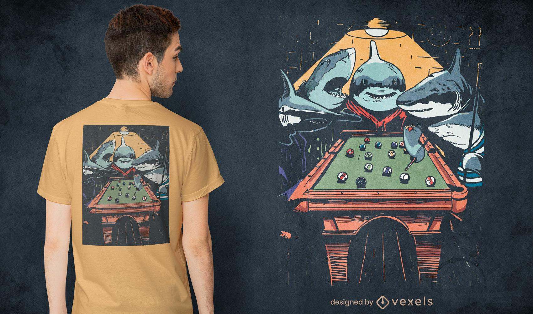 Tubarões brincando de design de camisetas de sinuca