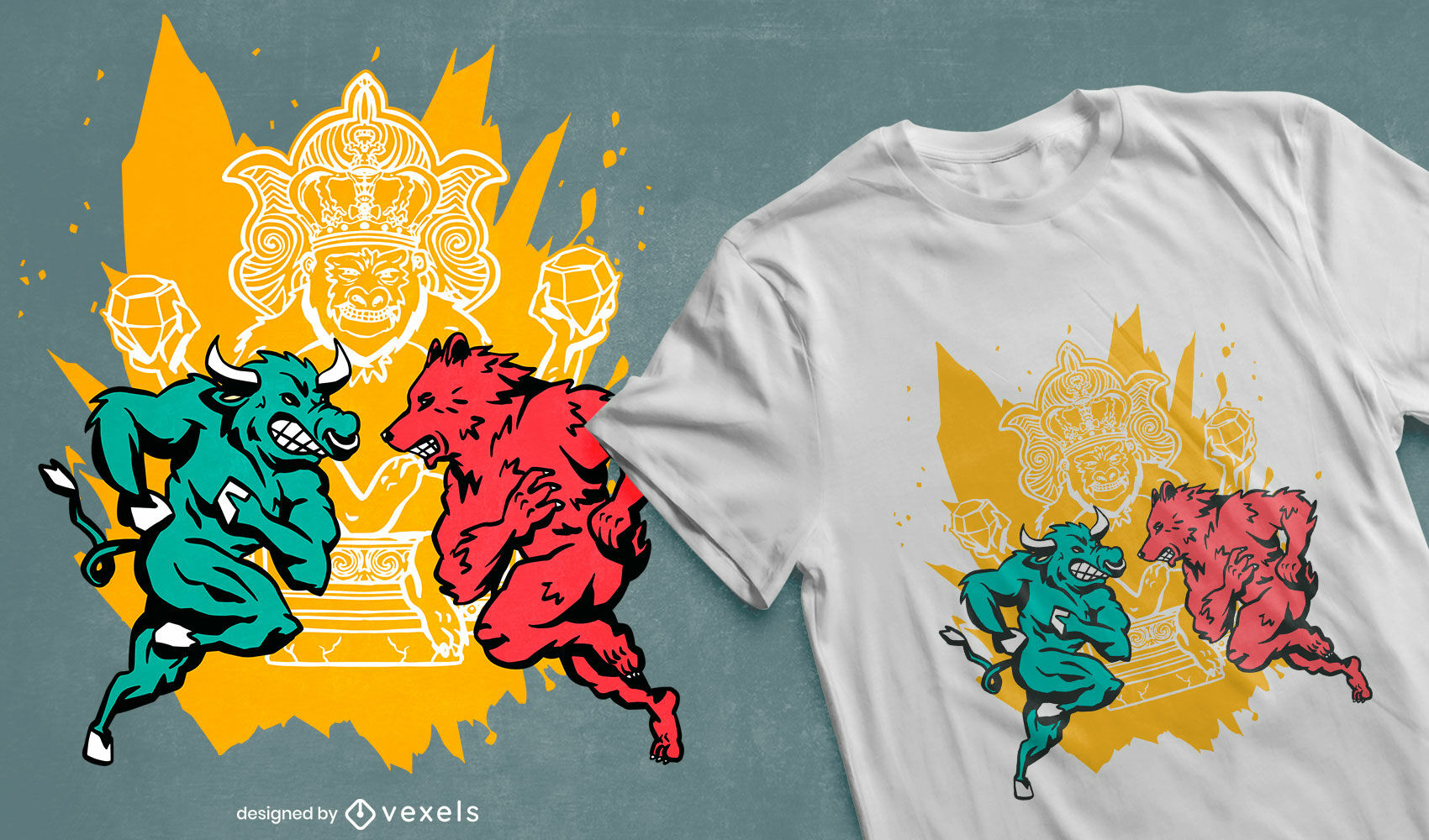 Design de camiseta do mercado de ações Bull and Bear
