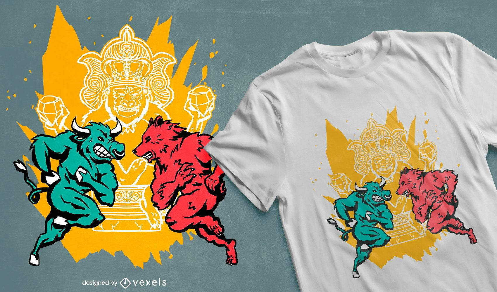 Diseño de camiseta de mercado de valores de toro y oso.
