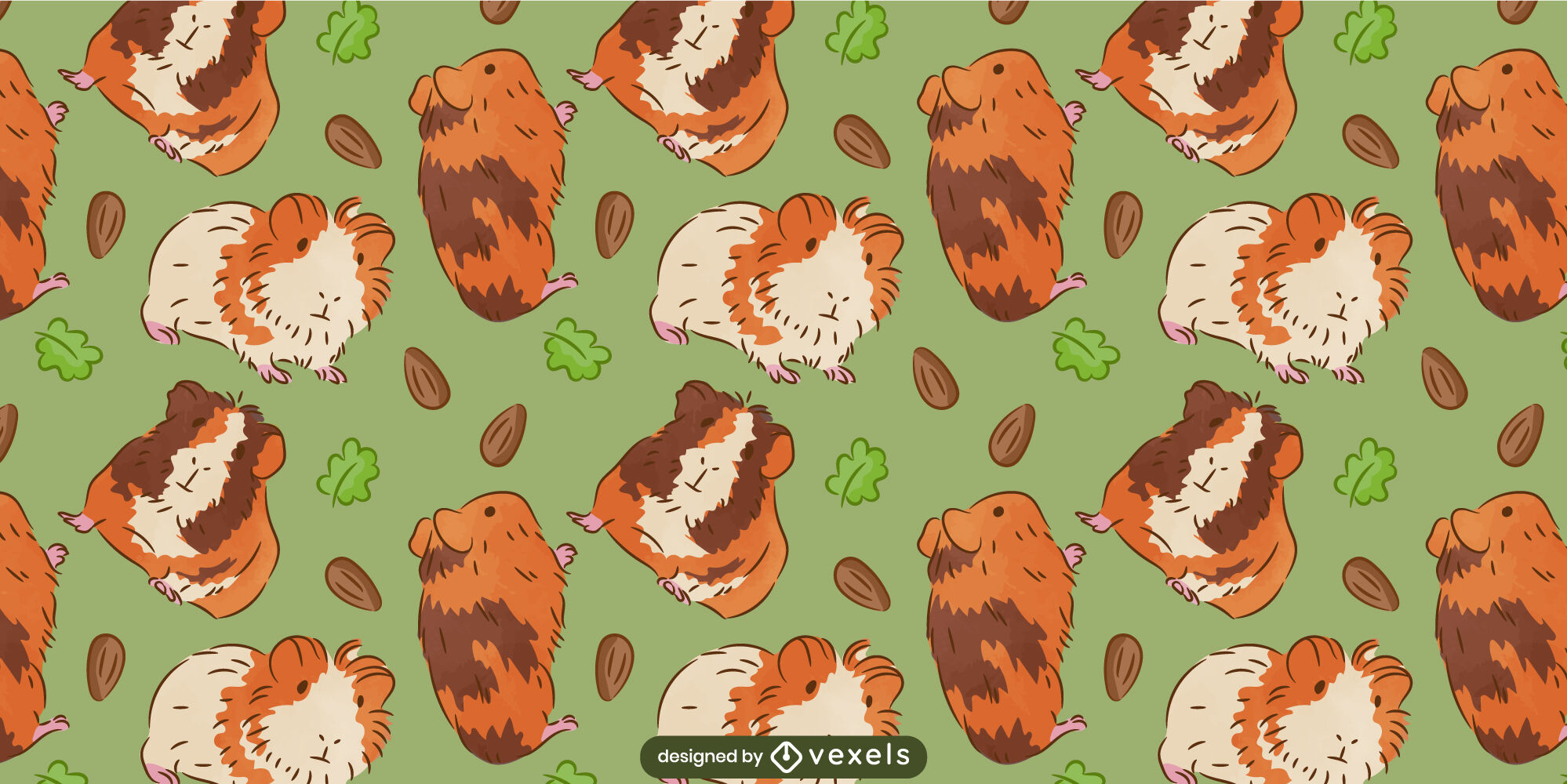 Cute guinea pigs animal pattern design