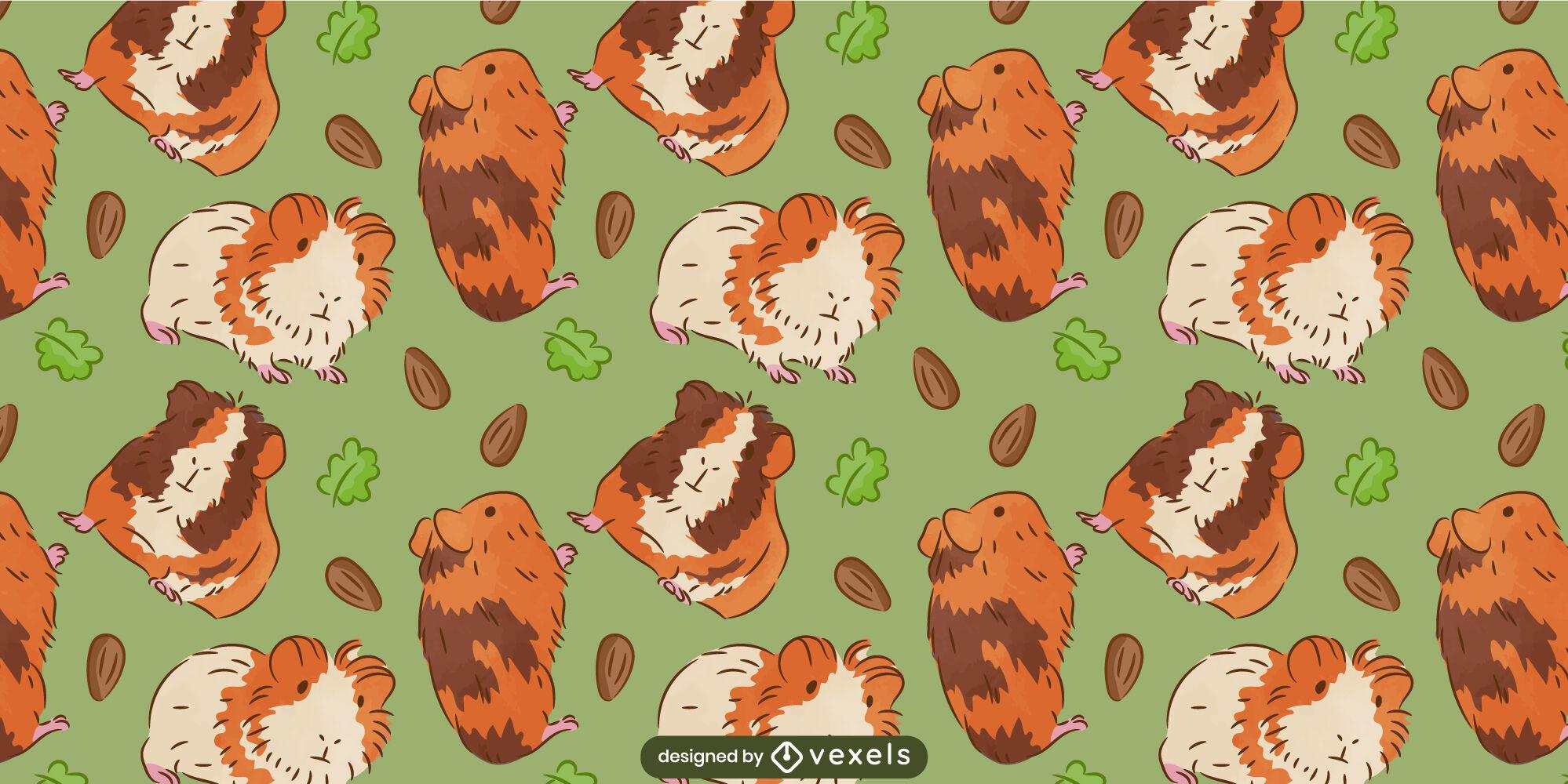 Diseño de patrón animal lindo conejillos de indias