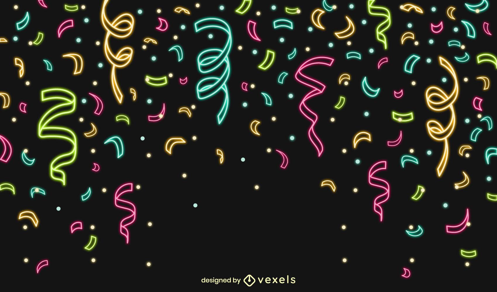 Diseño de fondo de neón de celebración de confeti