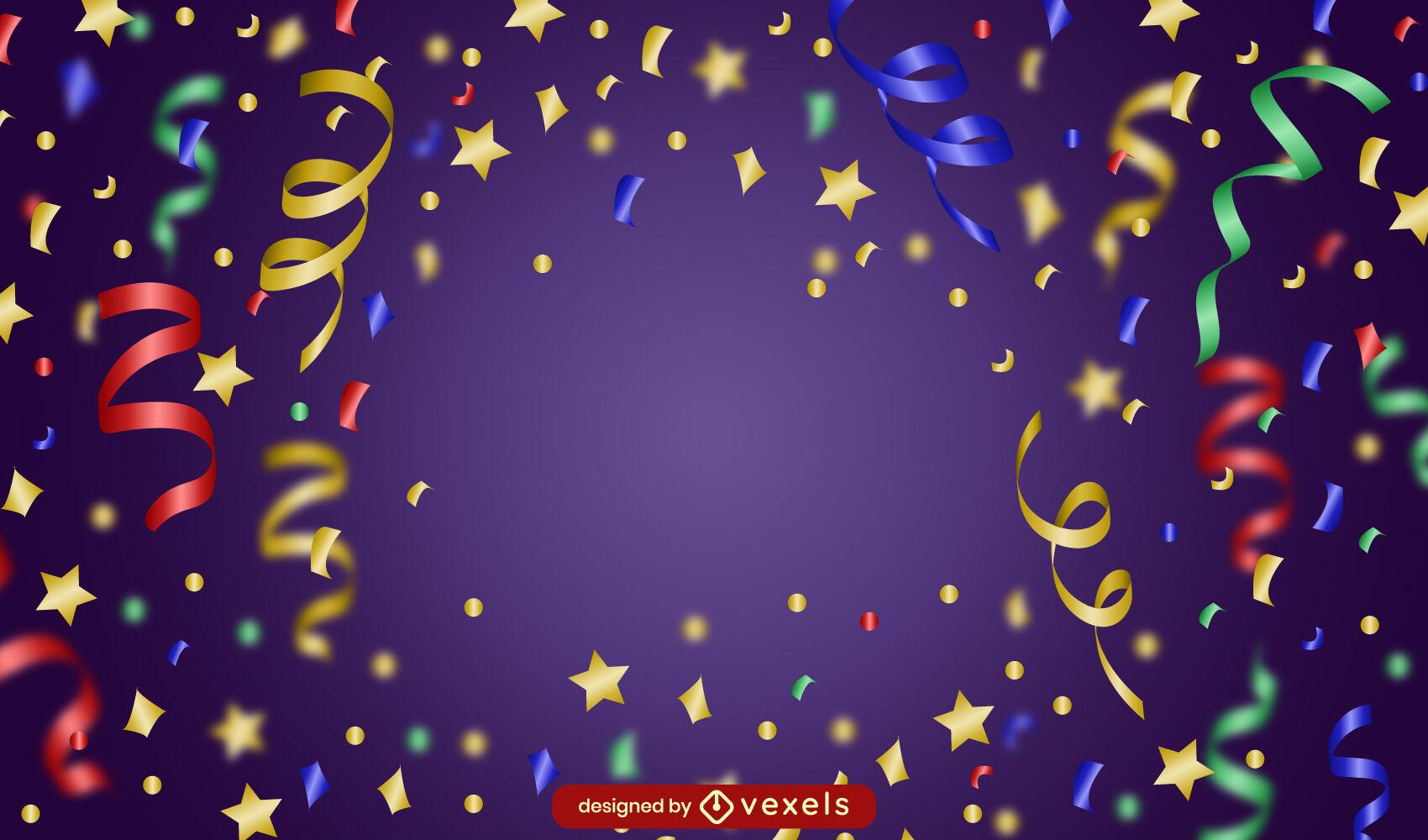 Diseño de fondo colorido de celebración de confeti