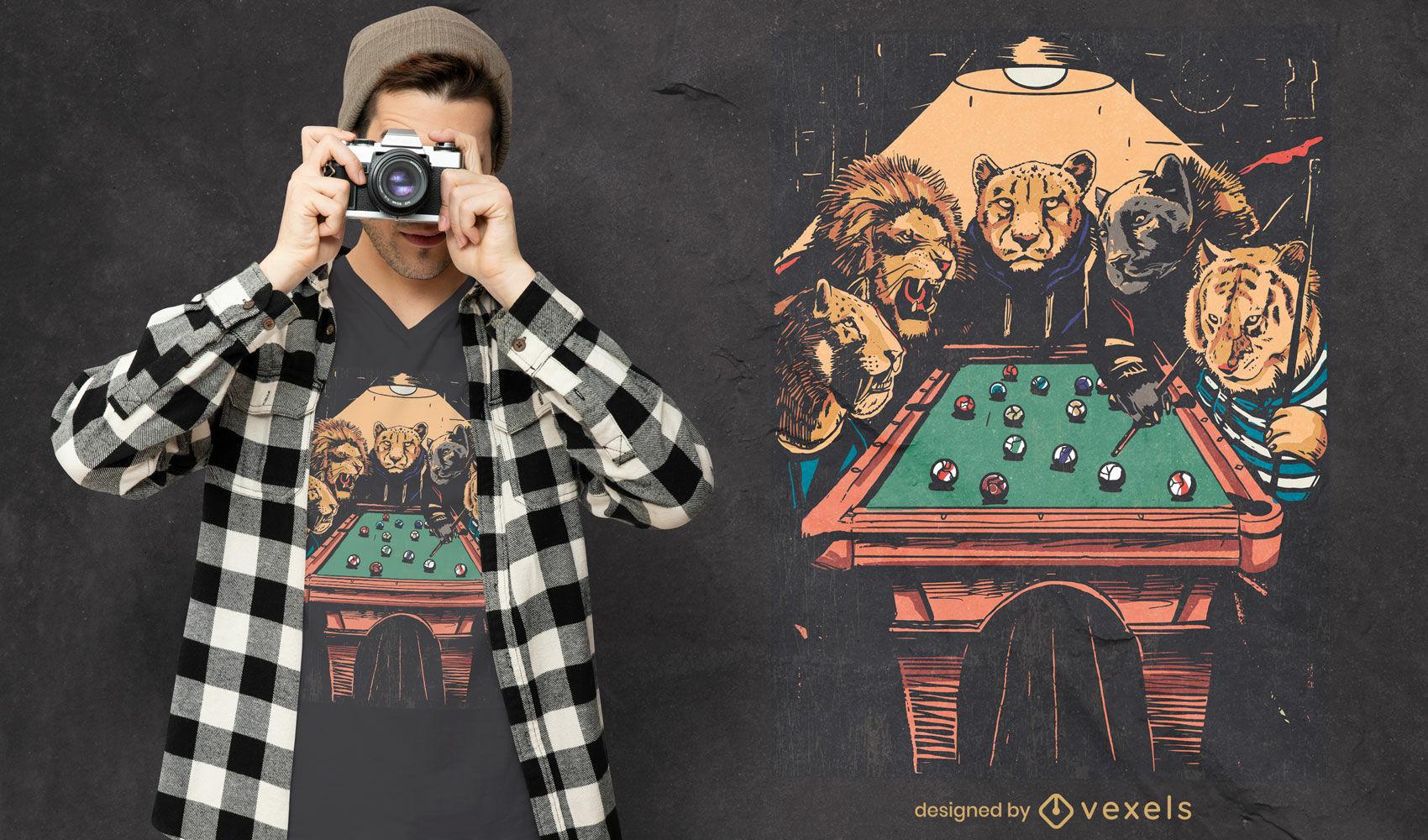 Dise?o de camiseta de grandes felinos jugando al billar.